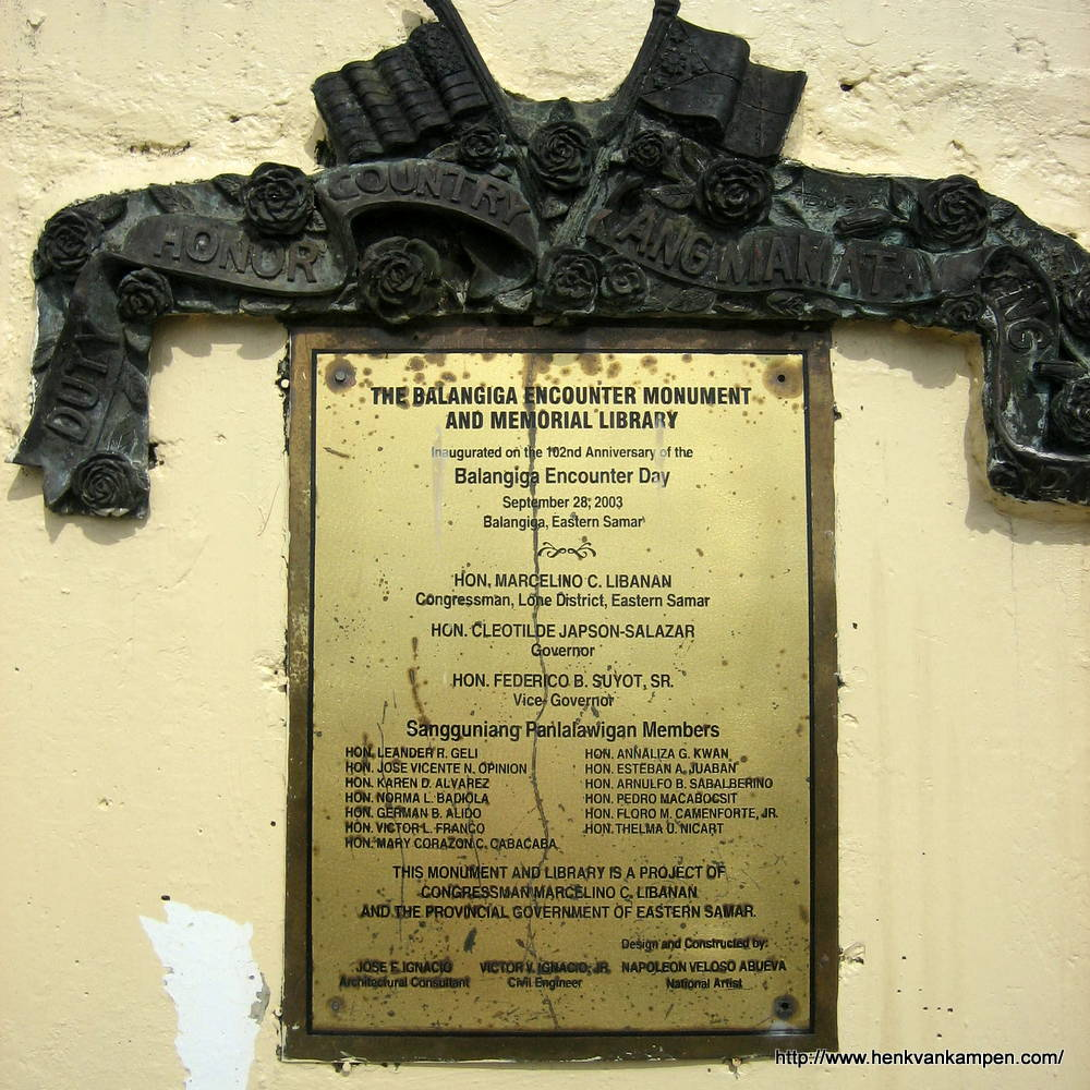 Inscription of the Balangiga Monument, Balangiga, Samar