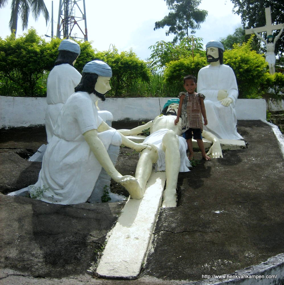 Crucifixion: Jesus is nailed to the cross - Stations of the Cross, Tacloban City